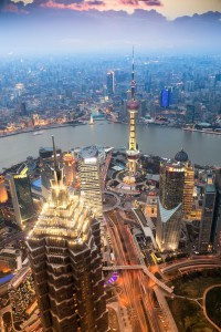 beautiful shanghai in the evening